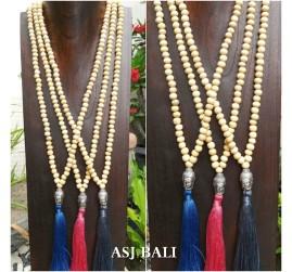 chrome budha head medium tassel necklace natural wood handmade bali