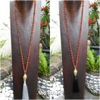 mala organic bead necklace tassels with budha head prayer design