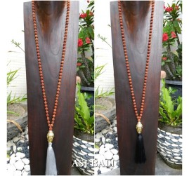 mala organic bead necklace tassels with budha head prayer design