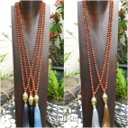 mala rudraksha beads tassels necklace with budha head bronze 5color