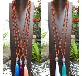 mala rudraksha tassels necklace with budha head chrome 5color