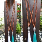 mala wooden beads necklaces tassels with budha head chrome 2color