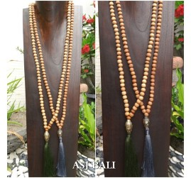 natural organic wooden beads tassels necklace with budha head chrome