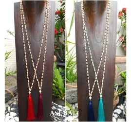 natural wood beads long layer strand necklaces tassel pendant 4color
