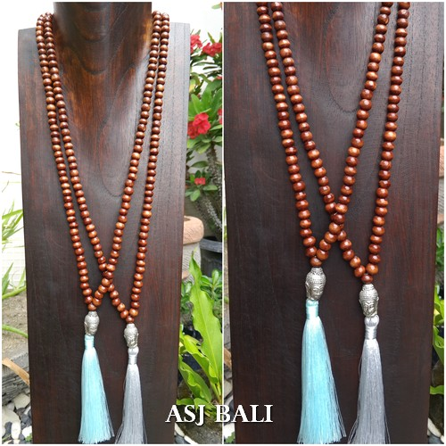 organic wood brown color necklaces tassels with budha head chrome 2color