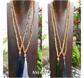 organic wooden beads necklace tassels budha head prayer design