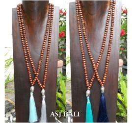 organic wooden brown beads necklace tassels budha heads prayer design