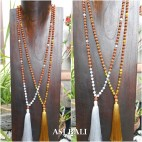 rudraksha glass bead tassels necklace pendant fashion bali design
