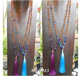 rudraksha glass beads long seeds tassels necklace women fashion