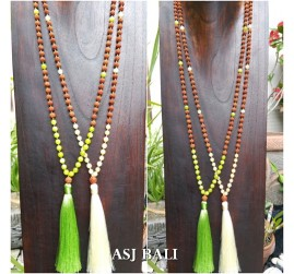 rudraksha glass beads necklace tassel pendant women fashion 2color