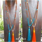 rudraksha glass beads tassels necklace pendant women fashion 2color