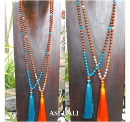 rudraksha glass beads tassels necklace pendant women fashion 2color