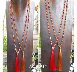 rudraksha glass beads tassels necklace pendant women fashion accessories