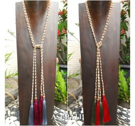 single layer strand wooden beads necklace tassels long 4color