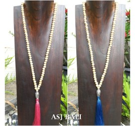 white wooden beads necklace tassels pendant buddha heads chrome prayer