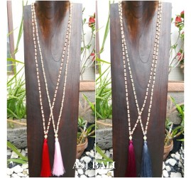wood beads long layer seeds handmade necklaces tassel pendant 4color