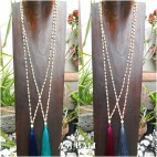 wood beads long strand handmade necklaces tassel pendant 4color