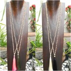 wood beads single layer necklaces tassel pendant 4color handmade design
