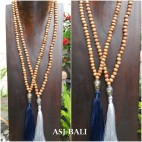 wooden beads tassels necklace with budha head chrome tassels pendant