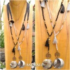 bali beads charms tassels necklace pendant mother of pearl 2color
