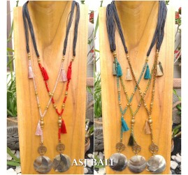 bali beads necklace charms tassels necklace pendant mother pearl 5color