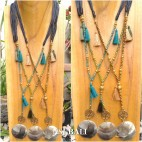 necklaces tassels charm shells pendant beads leather strings 3color