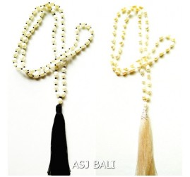2color full fresh water necklaces pendant tassels black cream