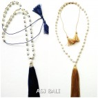 2color full fresh water necklaces pendant tassels blue brown