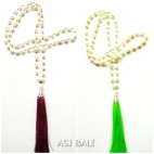 2color full fresh water necklaces pendant tassels red green