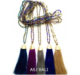 5color crystal combination beads long strand tassels gold caps
