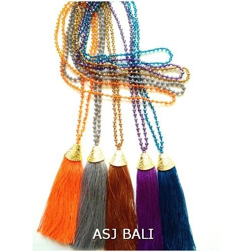 beads crystal long strand necklaces tassels pendant golden caps bronze