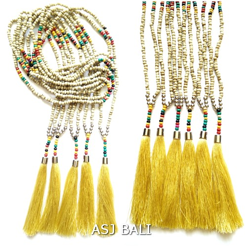 beige color beads tassels necklaces single strand jewelry