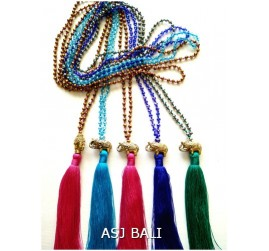 elephant bronze gold tassels necklaces pendant beads crystal