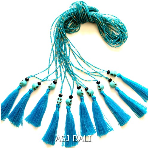 fashion bead necklaces tassels skull pendant accessories