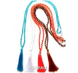 full beads crystal long seeds tassels necklaces pendant 4color