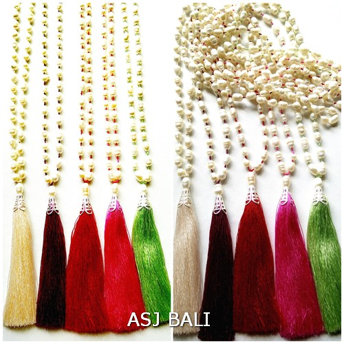 full fresh water pearls necklaces tassels pendant 5color