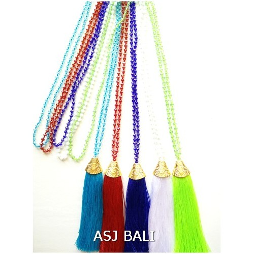 golden caps tassels necklaces 5color crystal beads bali