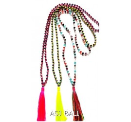 mix color crystal full beads necklaces pendant tassels 3color