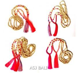 organic wooden tassels necklaces handmade fashion bali