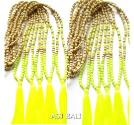 organic wooden with stone beads necklaces tassels yellow