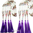 stone beads necklaces tassels with wood handmade purple