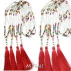 stone beads necklaces tassels with wood handmade red