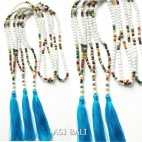 stone beads necklaces tassels with wood handmade turquoise