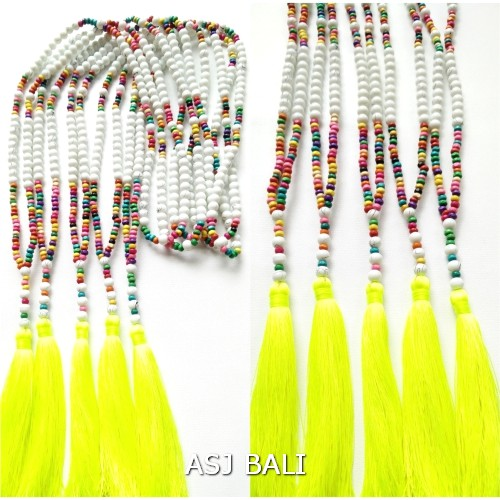 stone beads necklaces tassels with wood handmade yellow