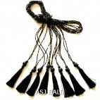 small crystal beads tassels necklaces pendant skull black