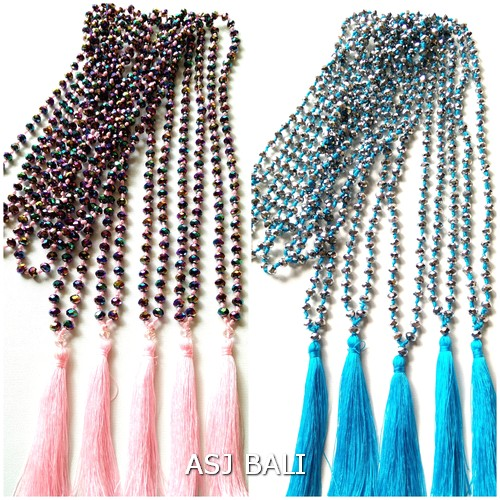 tassels necklaces pendant full beads crystal turquoise pink