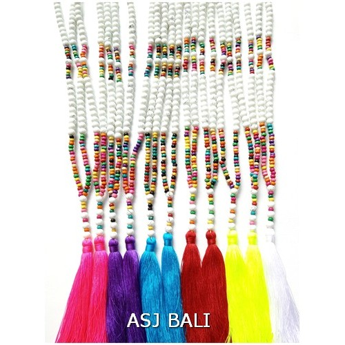 tassels necklaces pendant mix beads 6color handmade fashion