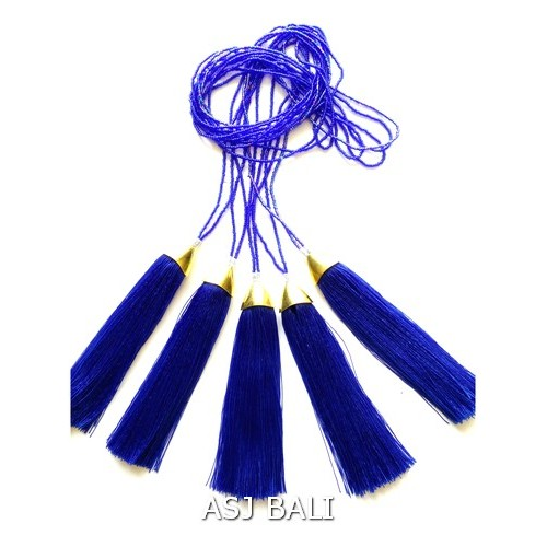 women fashion tassels necklaces single seeds crystal beads