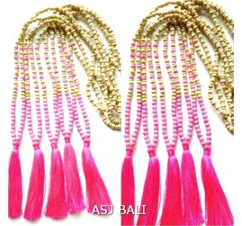 wooden organic with seastone beads necklaces tassels pendant necklaces