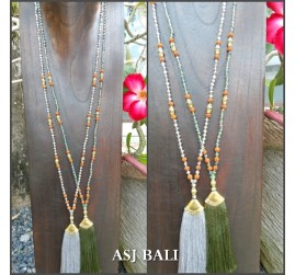 2color tassels gold caps necklaces pendant mix beaded balinese design